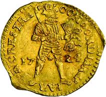 Niederlande: Vereinigte Provinzen 1581-1795. Provinz Utrecht: 1 Dukat 1724. Stehender Ritter Mit Ges - [ 3] 1815-… : Kingdom Of The Netherlands