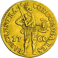 Niederlande: Vereinigte Provinzen 1581-1795. Provinz Utrecht: 1 Dukat 1760. Stehender Ritter Mit Ges - [ 3] 1815-… : Kingdom Of The Netherlands
