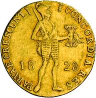 Niederlande - Anlagegold: Willem I. 1815-1840: 1 Dukat 1828 Utrecht. Stehender Ritter Mit Geschulter - [ 8] Gold And Silver Coins