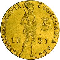 Niederlande - Anlagegold: Willem I. 1815-1840: 1 Dukat 1831 Utrecht. Stehender Ritter Mit Geschulter - [ 8] Gold And Silver Coins