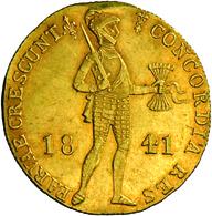 Niederlande - Anlagegold: Willem II. 1840-1849: 1 Dukat 1841 Utrecht, Münzzeichen Lilie. Stehender R - [ 8] Gold And Silver Coins