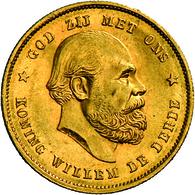 Niederlande - Anlagegold: Lot 3 Goldmünzen: Willem III. 1849-1890: 10 Gulden 1876, KM # 106, Friedbe - [ 8] Gold And Silver Coins