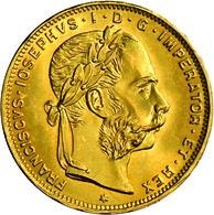 Österreich - Anlagegold: Franz Joseph I. 1848-1916: Lot 5 Goldmünzen: 4 Fl/10 Fr 1892, Schön; 8 Fl/2 - Austria