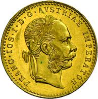 Österreich - Anlagegold: Lot 2 Goldmünzen: 1 Dukat 1915 (NP) + 1/10 OZ Maple Leaf. 3,49 G. 986/1000 - Austria
