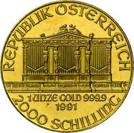 Österreich - Anlagegold: 2000 Schilling 1991, Wiener Philharmoniker, Gold 999,9, 31,1 G, Stemeplglan - Austria