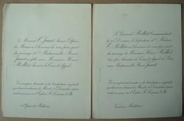 Faire-part Du Mariage De Renée Janet & Henri Rollet, Vannes, 1891. - Wedding