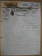 MAROC - CASABLANCA - Lettre Superbement Illustrée De 1931 - J. ARRIBE - Armes - Munitions - Cycles - Motos - Coutellerie - Autres