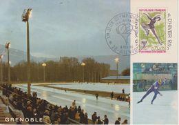 FRANCE CARTE POSTALE PREMIER JOUR JEUX OLYMPIQUES DE GRENOBLE 1968 PATINAGE ARTISTIQUE - Invierno 1968: Grenoble