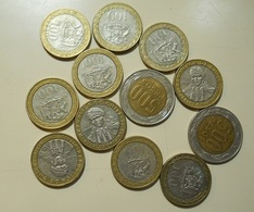 Chile Lot 10 Coins 100 Pesos + 2 Of 500 Pesos - Monnaies & Billets