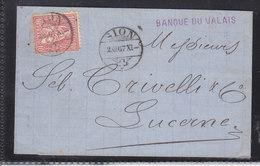 HELVETIE ASSISE - LETTRE DE LA BANQUE DE SION - POUR LUCERNE - ANCIEN CACHET DE SION - 2.12.1867 - 1862-1881 Helvetia Seduta (dentellati)