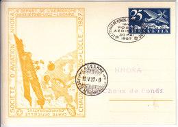 LA CHAUX DE FONDS /LOCLE/LAUSANNE - 1er POSTE AERIENNE -30 MAI 1927 - ENTIER 25 CTS BLEU F5 - CARTE NHORA - Airmail