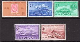 Tonga 1961 75th Anniversary Of Postal Services Set Of 5, MNH, SG115-9 - Tonga (...-1970)
