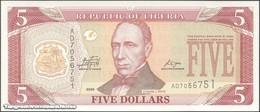 TWN - LIBERIA 26e - 5 Dollars 2009 Prefix AD UNC - Liberia