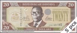 TWN - LIBERIA 28a - 20 Dollars 2003 DEALERS LOT X 5 - Prefix CC UNC - Liberia