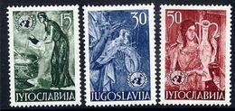 YUGOSLAVIA 1953 United Nations: Frescoes.  MNH / **.  Michel 714-16 - 1945-1992 Socialist Federal Republic Of Yugoslavia