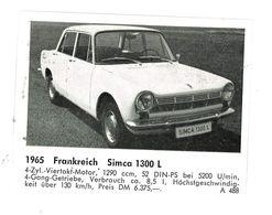 CHROMO IMAGE AUTOMOBILE 1965 FRANCE SIMCA 1300 L - Otros