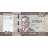 TWN - LIBERIA 33 - 20 Dollars 2016 Prefix AA UNC - Liberia