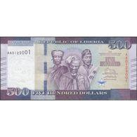 TWN - LIBERIA 36 - 500 Dollars 2016 Prefix AA UNC - Liberia
