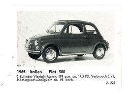 CHROMO IMAGE AUTOMOBILE 1965 ITALIE FIAT 500 - Other