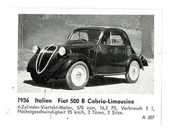 CHROMO IMAGE AUTOMOBILE 1936 ITALIE FIAT 500 B CABRIO-LIMOUSINE - Otros