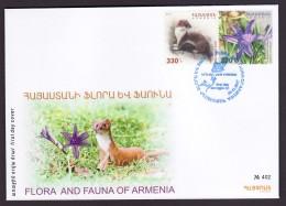 Armenien / Armenie / Armenia 2017, Flora And Fauna, Weasel, Flower Orchids - FDC - Armenia