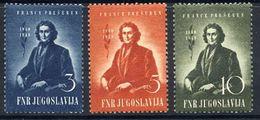 YUGOSLAVIA 1949 Presern Centenary  MNH / **.  Michel 567-69 - Unused Stamps