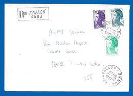 Lettre Recommandée (255) 89 AVALLON - 13 02 1986 - 1982-90 Liberté De Gandon