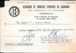 CREDENCIAL ASSOCIACAO DE CRONISTAS ESPORTIVOS DE GUANABARA TRIBUNA DE IMPRENSA ESTADIO MARIO FILHO AN 1970 DIARIO CLARIN - Tickets - Entradas