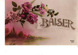 FANTAISIE---un BAISER-( Fleurs + Village)--voir Scan - Other