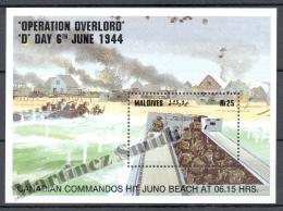 Maldives - Maldivas 1994 Yvert BF 306, Operation Overlord, Day 6, June 1944 - Miniature Sheet - MNH - Maldives (1965-...)