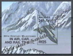 Maldives - Maldivas 2000 Yvert BF 458, Trains And Airplanes - Miniature Sheet - MNH - Maldives (1965-...)