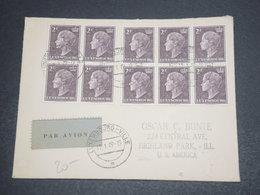 LUXEMBOURG - Enveloppe Par Avion Pour Les Etats Unis En 1949 , Affranchissement Bloc De 6 + Bloc De 4 - L 12367 - Luxemburg