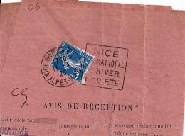 06 - ALPES MARITIMES - NICE HOTEL DE VILLE - DAGUIN FLAMME  - 1925    NIC261 - Marcophilie (Lettres)