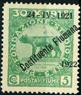 FIUME, OCCUPAZIONE ITALIANA, ITALIAN OCCUPATION, COSTITUENTE FIUMANA, 1922, NUOVO (MNH**), 5 C. Sass. 179   Scott 161 - 8. WW I Occupation