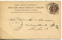 Postcard London To Berlin - Oct 1890 - 1840-1901 (Victoria)