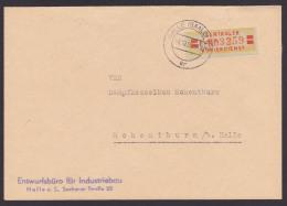 ZKD-Brief B19IIF Halle(Saale) Entwurfsbüro Industriebau Hohenthurm, O. Rs. Bearb, Zentraler Kurierdienst Der DDR - Oficial
