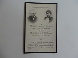 Image Pieuse Du Souvenir De Mr Joseph Thomas (31/07/1924) à 64 Ans Et De Son épouse (30/07/1929) à 65 Ans. - Religion & Esotérisme