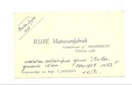 Visitekaartje - RUBE Matrassenfabriek - MAASTRICHT  1945...1950 ( K) - Visitekaartjes