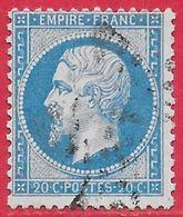 France N°22 Napoléon 20c Bleu 1862 O - 1862 Napoleon III
