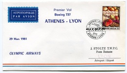 RC 6541 GRECE 1981 1er VOL OLYMPIC AIRWAYS ATHENES - LYON FRANCE FFC LETTRE COVER - Airmail