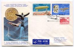 RC 6542 ROUMANIE 1982 1er VOL CFRNA BUCAREST - PARIS FRANCE 60eme ANNIVERSAIRE FFC LETTRE COVER - Aéreo
