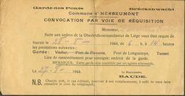 Convocation Par Voie De Réquisition Commune D'Herbeumont Pour La Garde Du Pont De Longueroye Le 28-8-1944 - 12397 - Non Classés