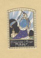 Etiquette Gaufrée Parfum Princesse D'Azur Miraly PARIS Format : 2,5 Cm X 3,6 Cm Superbe.Etat - Etiquettes