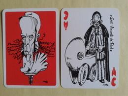Le GISCARTE. Dame De Coeur. Saint Vincent De Paul. 20 Siècles D Histoire Caricaturés Par Giscard (Président) - Playing Cards (classic)