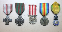 Lot De 5 Médailles Française Première Guerre Mondiale WW1 - Francia