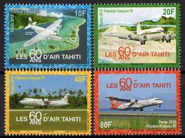 Polynésie Française 2018 - Aviation, 60 Ans D'air Tahiti - 4 Val Neufs // Mnh - Polynésie Française