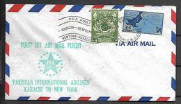 PAKISTAN    -   1961  .  Très Belle LETTRE. 1er Vol  De Karachi Pour New York  /  Par Avion - Pakistan