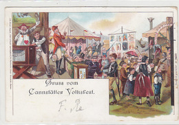 Gruss Vom Cannstätter Volksfest - Litho - Feststempel - 1898     (A-64-161117) - Gruss Aus.../ Grüsse Aus...