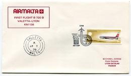 RC 6550 MALTE MALTA 1979 1er VOL AIRMALTA VALETTA - LYON FRANCE FFC LETTRE COVER - Malta
