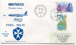 RC 6551 MALTE MALTA 1979 1er VOL AIRMALTA PARIS FRANCE - MALTE RETOUR FFC LETTRE COVER - Malta